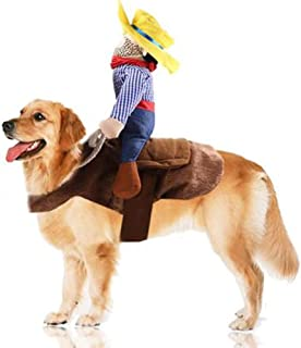 Pet Costume Dog Costume Pet Suit Cowboy Rider Dog Costume For Dogs Clothes Knight Style With Doll And Hat For Dog And Cat Dress Halloween Christmas Funny Pet Clothes Dog Carrying Costume (S M L XL)