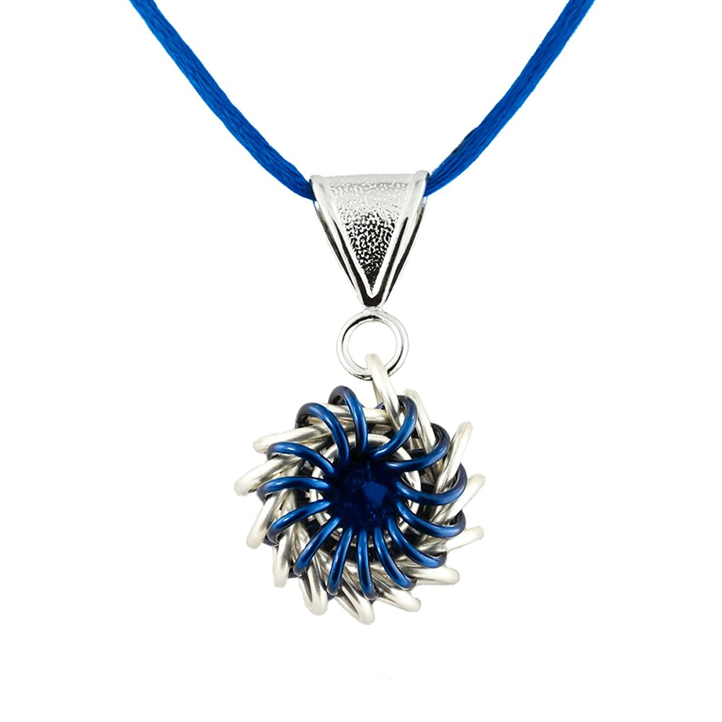 Weave Got Maille Blue Whirlybird Chain Maille Necklace Kit with Swarovski Crystal,