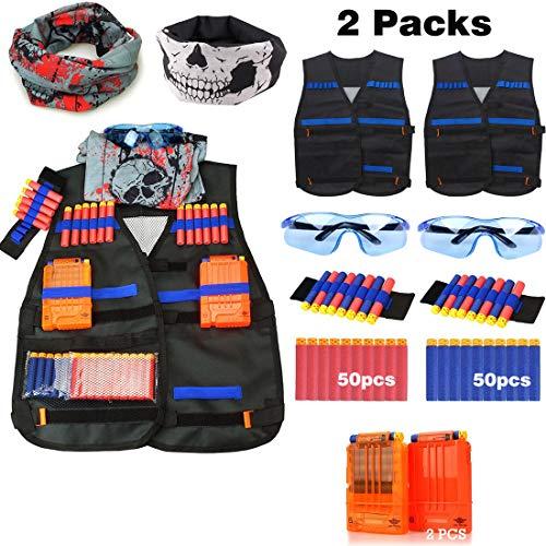 Junpro Kids Tactical Vest Kit for Nerf Guns N-Strike Elite Series (Tactical Vest 2 Set Basic)