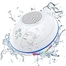 Pool Bluetooth Speakers with LED Lights, IPX7 Waterproof Floating Speaker, Stereo Sound, Built-in Mic, Wireless Shower Speaker for Hot Tub, Kayaking,Outdoor Travel, Picnic (Updated)