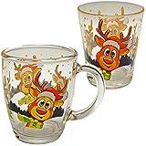 alles-meine.de GmbH 2 TLG. Set: Glas Henkeltasse + Trinkbecher / Teelichthalter - süßes Rentier - Weihnachten - groß - 350 ml - Kaffeetasse / Teetasse - Weihnachtstasse / Glühwei..