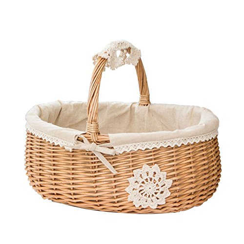 Shumo Wicker Basket Rattan Storage Basket Box Picnic Basket Fruit Flower Baskets With Lid And Handle And White Liner For Camping #Co