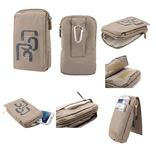DFVmobile - Multi-Functional Universal Vertical Stripes Pouch Bag Case Zipper Closing Carabiner for THL T9 PRO DUAL LTE - BEIGE (16 x 9.5 cm)