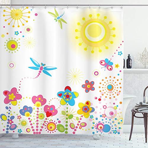 ABAKUHAUS Libélula Cortina de Baño, La Felicidad Dientes de león, Material Resistente al Agua Durable Estampa Digital, 175 x 200 cm, Multicolor