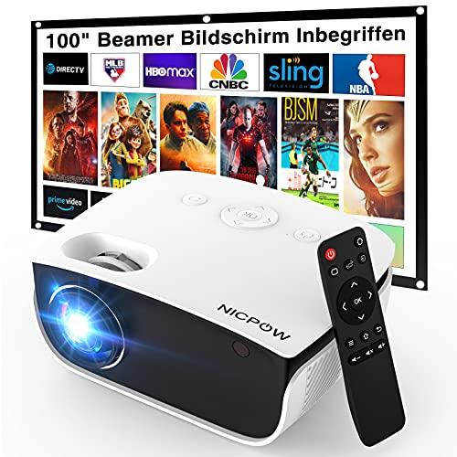 Beamer, NICPOW Mini Beamer mit Screen, 5500 Lux Support 1080P, 240' Display, Trapezkorrektur, 65000 Stunden LED Projektor Kompatibel mit TV Stick/HDMI/USB/AV/ iOS/Android