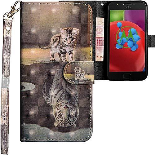 CLM-Tech kompatibel mit Motorola Moto E4 Hülle, Tasche aus Kunstleder, Katze Tiger grau, PU Leder-Tasche für Moto E4 Lederhülle