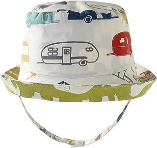 LLmoway Baby Toddler Kid Bucket Sun Hats UPF50+ Cotton Reversible Wide Brim Hat