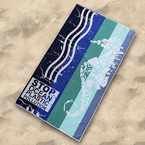 Sibiles - Toalla de Playa Grande Terciopelo Algodón Reciclado 100x170 cm Stop Ocean Plastic Azúl