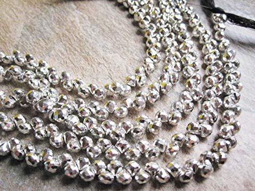 World Wide Gems Cuentas de plata con piedras preciosas de pirita, brioletas de cebolla, 5 mm, plata piedra preciosa 4 pulgadas de hebra código-HIGH-68637