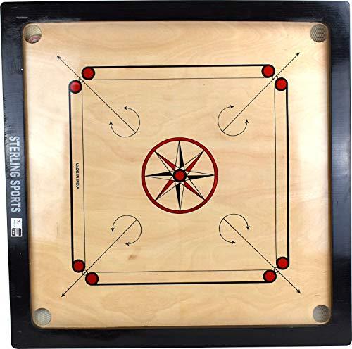 Sterling Ventures Carrom en bois traditionnel 83 x 83 cm avec maillets et pièces de monnaie