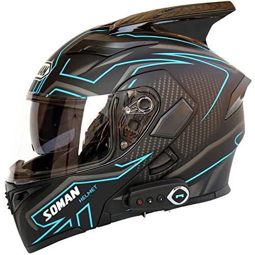 SJAPEX Casco de Motocicleta Modular Integrado con Bluetooth HD Negro Marrón Lente Auriculares y micrófono Integrados Casco de Carreras de Cara Completa Certificación ECE/Dot A,XXL=63~64cm