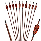 HANDBAIGE Archery Hunting Practice Arrows 28 29 30 31 Inch Carbon Arrow Shafts with 4-Inch Real Feather Fletching Targeting Arrows Spine 400 for Recurve Compound Hunting Bow (Pack of 6) (31inch)