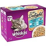 Whiskas Pure Delight - Sachets fraîcheur pour chat adulte, sélection aux poissons en gelée, 48 sachets repas de 85g