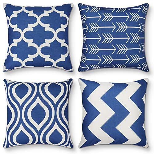 Fodere per cuscini decorativi Set di 4 fodere per cuscini dal design geometrico moderno in morbido cotone e lino Fodera per cuscino per divano divano letto, decorazioni per la casa, 45 cm x 45 cm