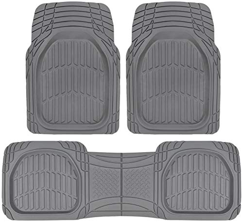 BDK Sharper Image Deep Dish Rubber Floor Mats, Front & Rear for Car Truck & SUV, Thick Heavy Duty Performance, Custom Trimmable, Odorless All Weather Set