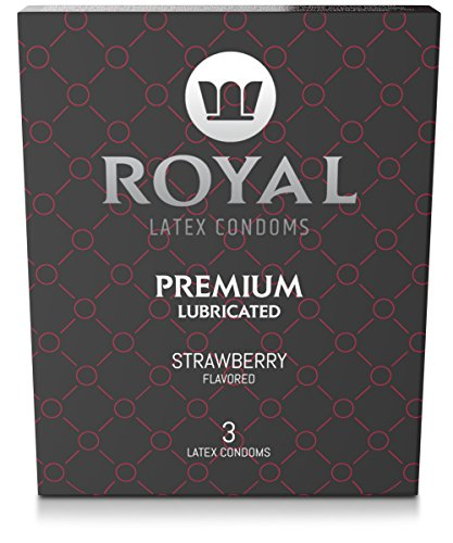 Royal Ultra-Thin Latex Condoms - Strawberry Flavored and Lubricated - Strong, Non-Toxic Latex - All Natural, Organic, Vegan, No Cruelty Contraceptive - Snug Fit, Accurate Sizing - 3 Pack