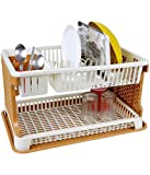 wudkraft Kitchen Dish Drainer Rack with Drip Tray