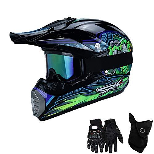 QYTK® Série MT-515 Motorradhelm, Full face Motocross Helm Sport Adventure Racing Motorrad-Helm Motocross Schutzhelm MTB Schutz Sicherheit Helm mit Handschuhe Maske Brille,XL 58~59CM