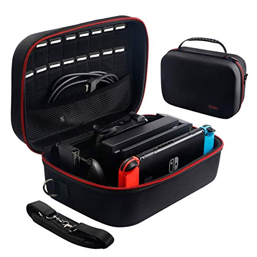 Large Carrying Storage Case for Nintendo Switch,Protective Travel Hard Shell Messenger Bag for Switch Console, Pro Controller, Accessories Switch Dock, AC Adapter with 16 Game Cards and Shoulder Strap