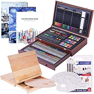 165 Piece Deluxe Art Creativity Set with 3 Drawing Pads,1 Wooden Drawing Easel with Drawer, Art Supplies, Painting & Drawing Set That Contains All The Additional Supplies You Need to Get Started