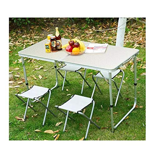 Conjunto de mesa y silla de exterior Conjunto de mesa y silla al aire libre portátil, mesa plegable de aleación de aluminio y silla de silla, para la mesa de picnic y la mesa de la barbacoa y la silla
