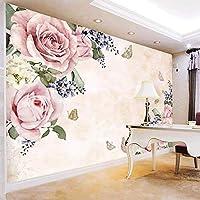 3D壁紙現代のシンプルなピンクの花の壁画リビングルームテレビソファベッドルームロマンチックな家の装飾の壁画壁画-250x175cm
