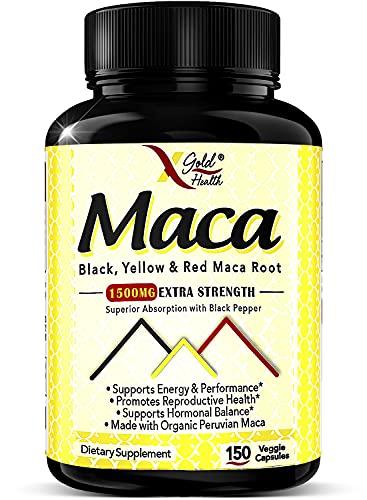 Organic Maca Root Powder Capsules 1500mg - 150 Vegan Pills with Black + Red + Yellow Peruvian Maca Root Extract Gelatinized, Energy & Mood Supplement for Men & Women + Black Pepper for Best Benefits