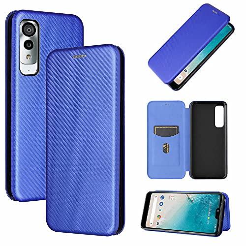 Android One S8 手帳型 薄型 カーボンファイバー 炭素繊維カバー TPU 保護バンパー 財布型 マグネット式 カード収納 落下防止 ホルダ 横開き アンドロイドワンエスエイト (ブルー)