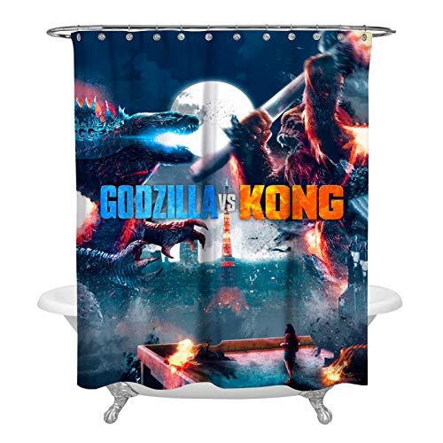 863 God-zilla vs Ko-ng Poster-Duschvorhang, dekorativer Badvorhang, modernes Badezimmer-Zubehör, maschinenwaschbar, 183 x 183 cm