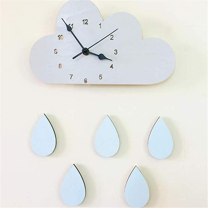AUJBV Wall Clock 2816Cm Wooden Cloud Raindrop Shaped Wall Clock Kids Room Decor Baby Gender Neutral Wall Clock Nursery Baby
