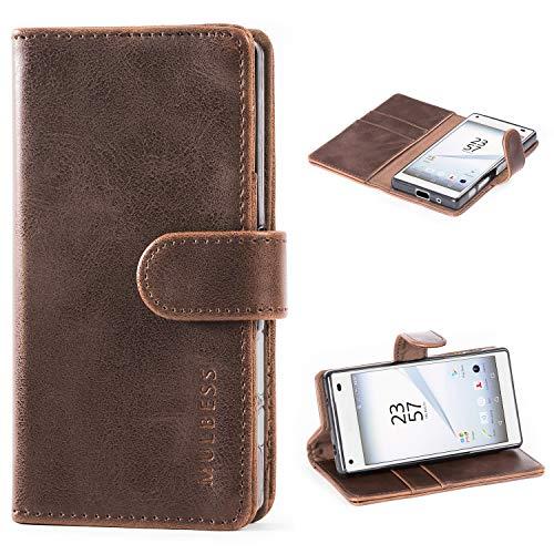 Mulbess Handyhülle für Sony Xperia Z5 Compact Hülle, Leder Flip Case Schutzhülle für Sony Z5 Compact Tasche, Vintage Braun