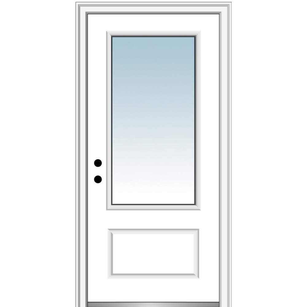 National Door Company Z000370R Fiberglass Smooth Primed, Right Hand in-Swing, Prehung Front Door, 3/4 Lite 1-Panel, Clear Glass, 36
