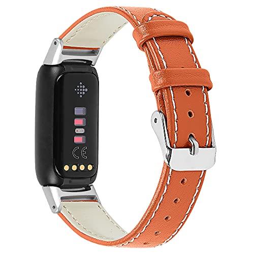 Chofit Correas compatibles con Fitbit Luxe correa, correa de cuero de repuesto para Luxe Activity Tracker (naranja)