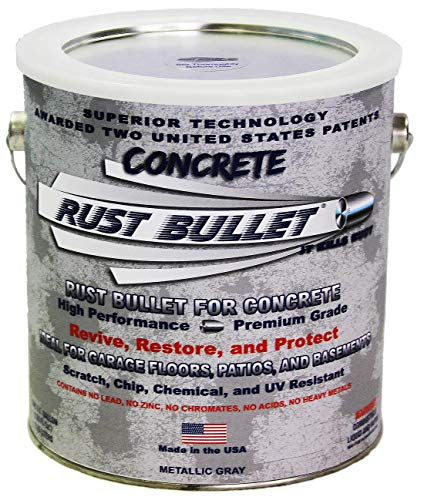 Rust Bullet for Concrete, Super-Tough Protective Floor Coating, Enhances Appearance and Adds Years of Life to Concrete Surfaces (Gallon, Metallic Gray)