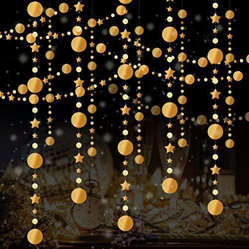 5pcs Guirnalda Estrella de Papel Colgante, ZERHOK Banderines Estrellas Reflectante Estrella de Papel para Decorar Árboles de Navidad Cumpleaños Boda Duchas del Bebé Bautizos Barbacoa Jardines