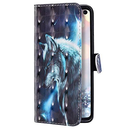 Uposao Kompatibel mit Samsung Galaxy S10 Lite Hülle Glitzer Bling Glänzend Bunt Leder Handyhülle Brieftasche Wallet Case Flip Schutzhülle Tasche Klapphülle Magnetisch Kartenfach,Wolf