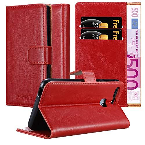 Cadorabo Funda Libro para Huawei P9 Plus en Rojo Burdeos - Cubierta Proteccíon con Cierre Magnético, Tarjetero y Función de Suporte - Etui Case Cover Carcasa