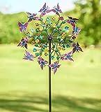 Molino de viento de mariposa de metal colorido giratorio molino de viento, gran metal giratorio de flores, mariposas y molino de viento para jardín y decoración de arte al aire libre adornos de césped
