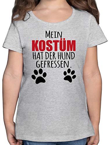 Karneval & Fasching Kinder - Mein Kostüm hat der Hund gefressen - schwarz/rot - 164 (14/15 Jahre) - Grau meliert - Karneval kostüm mädchen 104 - F131K - Mädchen Kinder T-Shirt