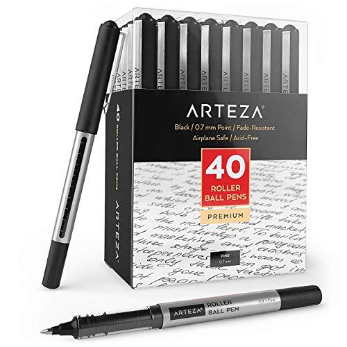 ARTEZA Penne Gel, Confezione da 40 Penne Nere a Prova di Acqua, Penna a Sfera con Punta Fine da 0,7 mm per Journaling, Scrittura, Appunti e Schizzi Artistici e Tecnici
