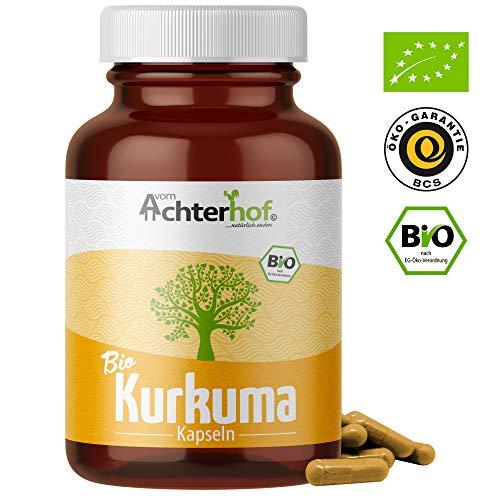 Kurkuma Kapseln hochdosiert Bio (180 Stück) 600mg Curcuma Pulver pro Kapsel - ohne Zusätze - vegan - laborgeprüft - vom-Achterhof