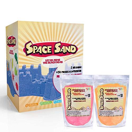 Space Sand 1.8kg Set 50tlg. Formen Zahlen Buchstaben Burg Modellierwerkzeug Modellierwanne, kinetischer magischer Sand, viele Farben, TÜV getestet, Modell 2020 (0.9kg rosa und 0.9kg orange)