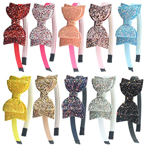 XIMA 10pcs Glitter Sequin Bow Hairband Shiny Bow Knot Teeth Plastic Hairband for Kids Hair Accessories