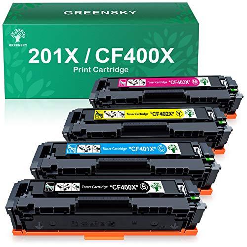 GREENSKY Compatible Toner Cartridge Replacement for HP 201X 201A CF400A CF400X CF401X CF402X CF403X for HP Color Laserjet Pro MFP M277dw MFP M277n MFP M274n MFP M277c6 M252n M252dw Printer (4 Pack)