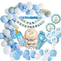 Boy Baby Shower Decorations, Baby Shower Party Balloons Set-Mommy to Be Sash, Baby Shower Banners, Baby Foil Balloon for Mommy to be, Gender Reveal Party (Blue)
