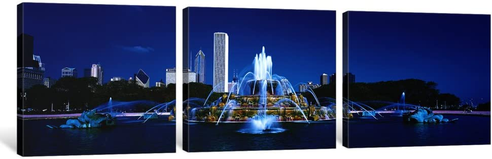 Super special Challenge the lowest price of Japan price iCanvasART 3 Piece Buckingham Fountain Pri Chicago Canvas Il USA