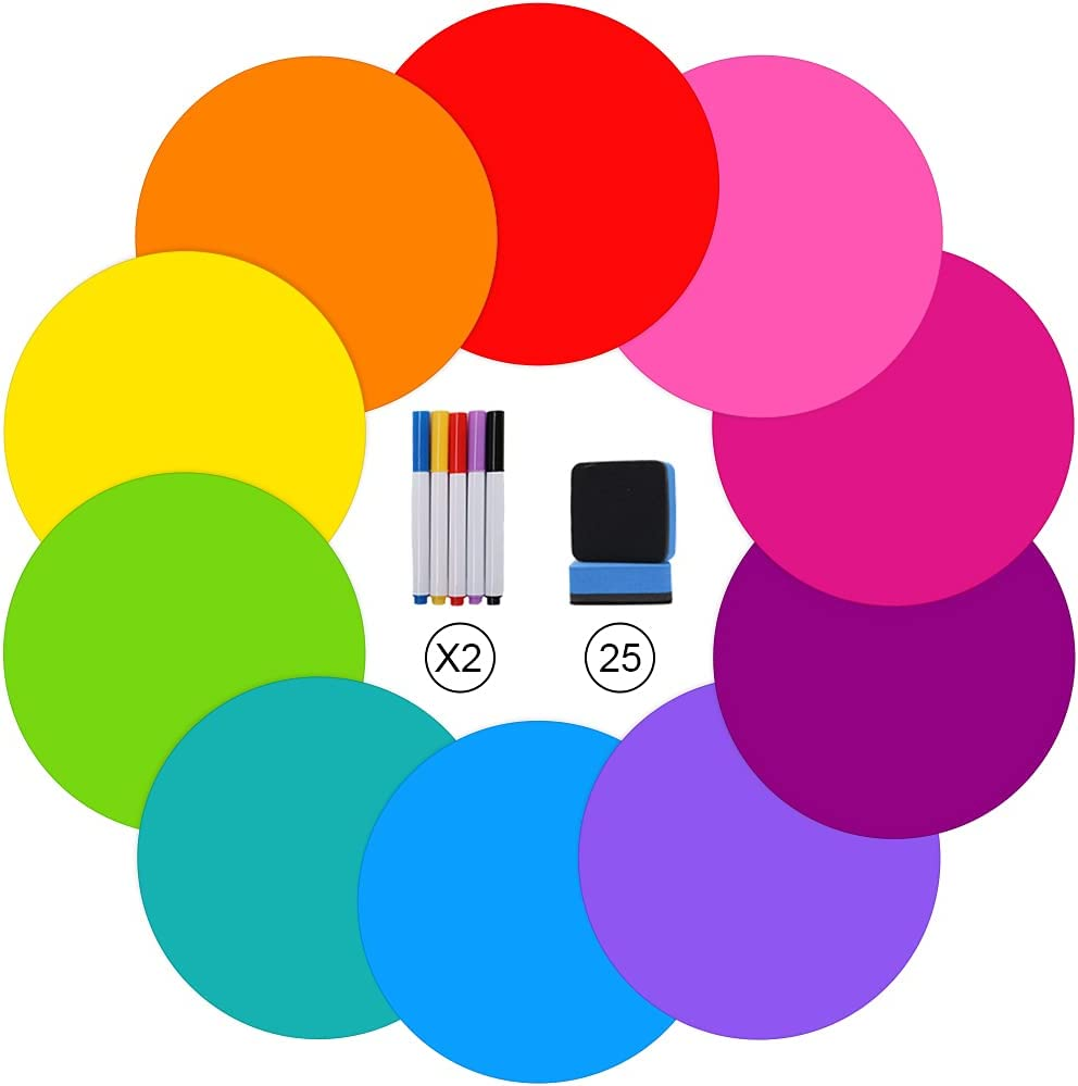 10 Pcs Dry Erase Dots Circles for Classroom Table, 25 PCS Magnetic Dry Erasers & 10PCS Dry Erase Markers, Removable Vinyl Dots Stickers Wall Decal for Drills and Training Home, Office, School Teaching