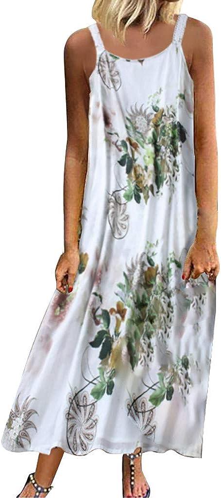 Women Vacation Dress Boho Maxi Beach Dress Floral Swing Spaghetti Straps Dress Summer Beach Dress Casual Long Dress