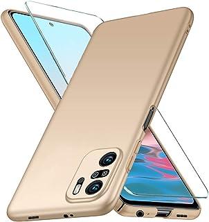 YIIWAY Xiaomi Redmi Note 10 Pro Max 5G Case + Gehard Glas Screen Protector, Goud Ultra Slim Beschermhoes Hard Cover Shell ...