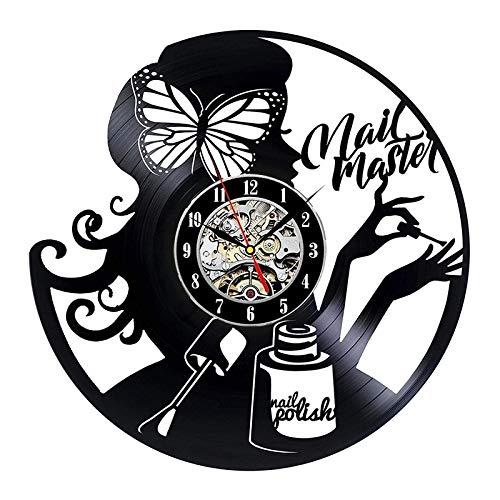 LKJHGU Salón de uñas 3D Reloj de Pared manicura Disco de Vinilo Reloj de Estudio Reloj de Pared salón de Belleza Logotipo de Pared decoración